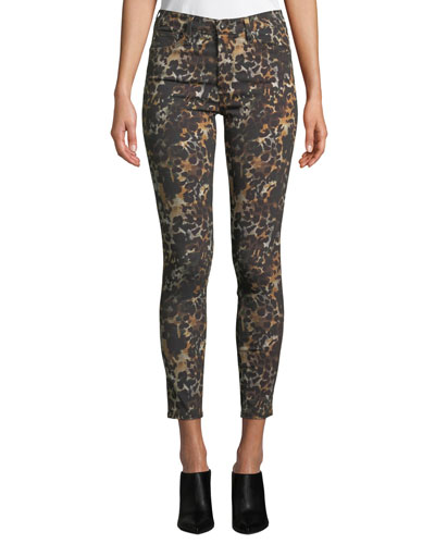 The Farrah High-Rise Animal-Print Camo Skinny Jeans