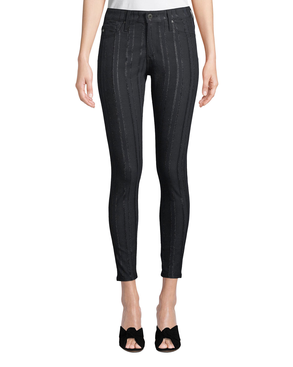 AG Farrah High-Rise Skinny Ankle Jeans With Metallic Stripes in Blue Metallic