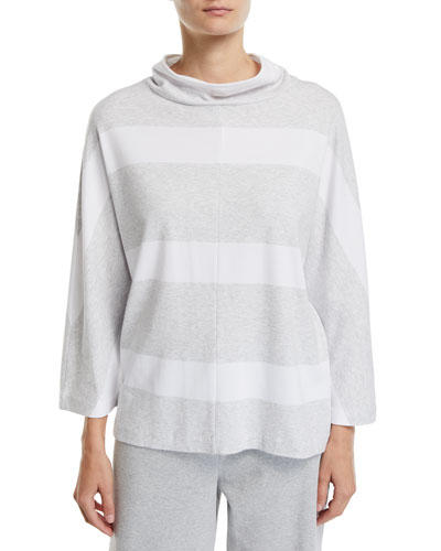 Plus Size 3/4-Sleeve Mock-Neck Striped Tunic Pullover