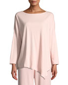 Joan Vass Petite Oversized Long-Sleeve Pullover w/ Asymmetric