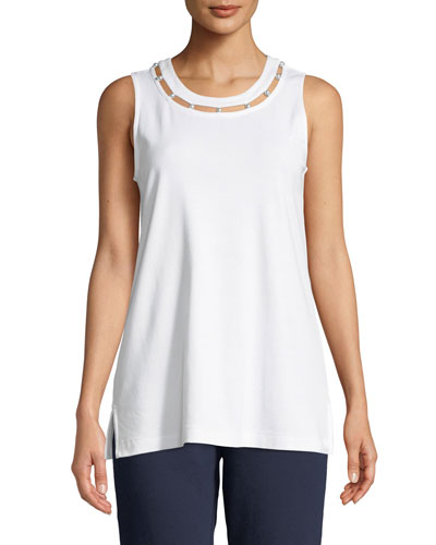 Scoop-Neck Cotton Interlock Tank with Pearly Inset