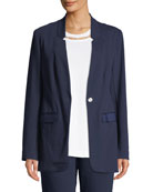 Joan Vass Plus Size Snap-Front Long-Sleeve Boyfriend Blazer