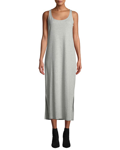 Long Scoop-Neck Cotton-Interlock Tank Dress w/ Side Slits