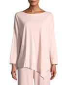 Joan Vass Oversized Long-Sleeve Pullover w/ Asymmetric Hem