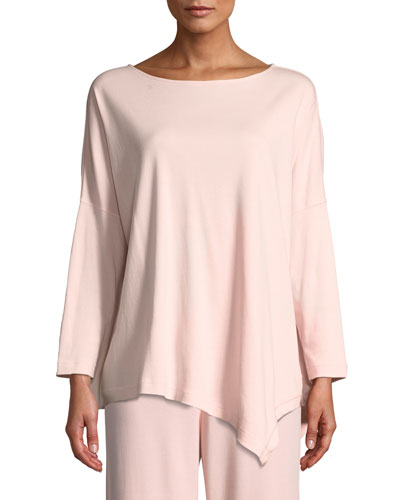 Oversized Long-Sleeve Pullover w/ Asymmetric Hem