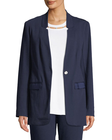 Joan Vass Snap-Front Long-Sleeve Boyfriend Blazer with Pockets