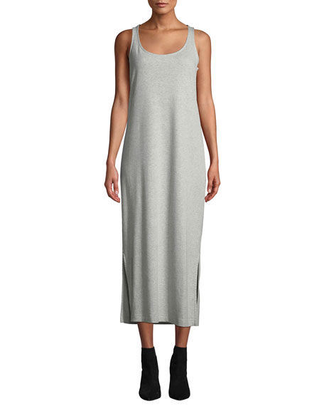 Joan Vass Plus Size Scoop-Neck Cotton-Interlock Tank Dress w/ Side Slits