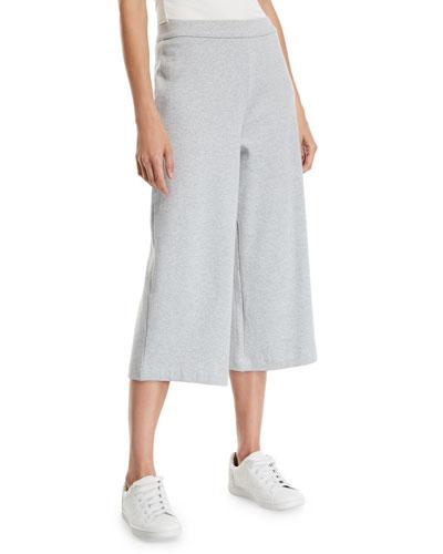 Plus Size Cropped Stretch Interlock Wide-Leg Pants