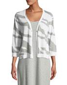 Joan Vass Plus Size Single-Button 3/4-Sleeve Zebra-Patterned