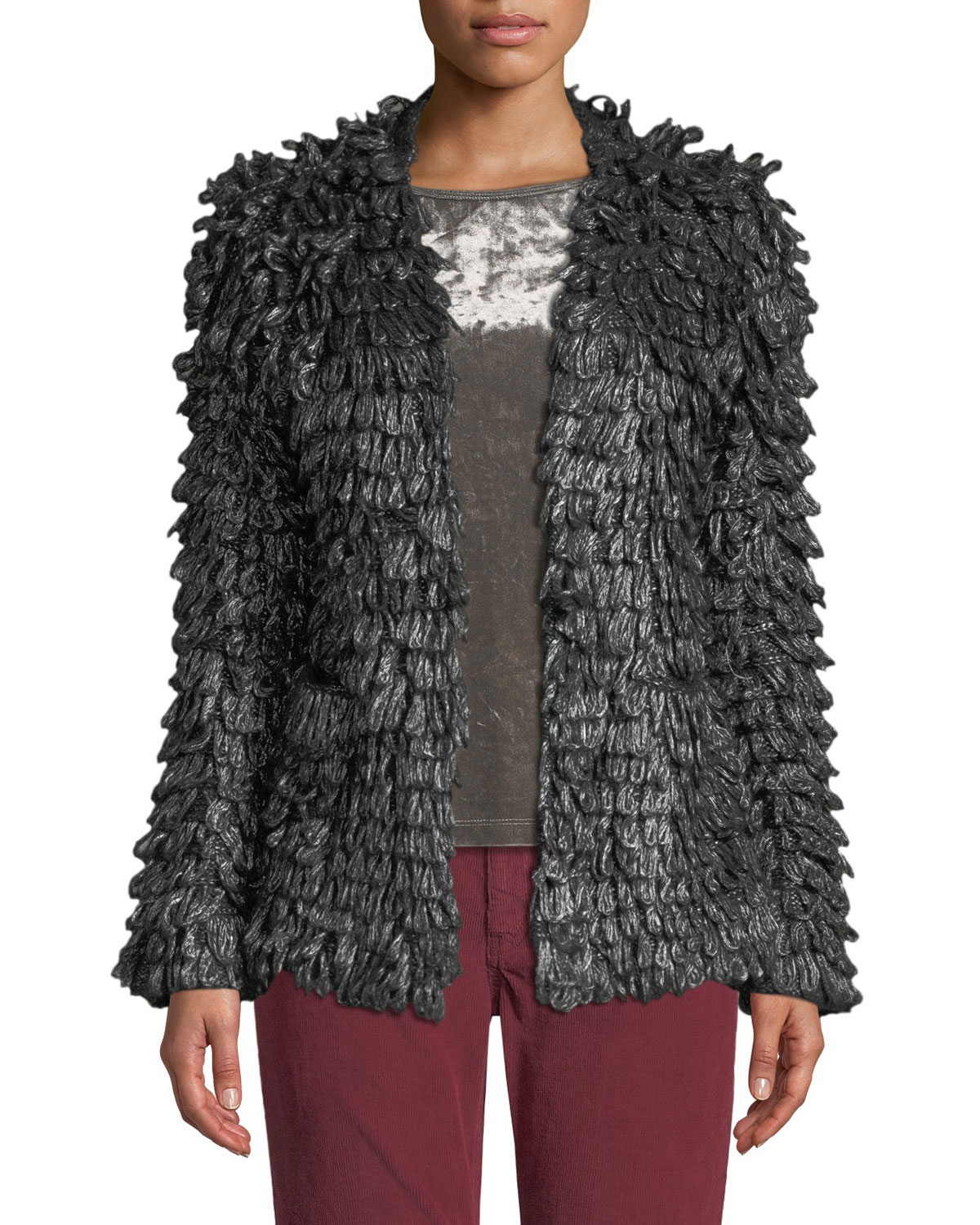 The Short Monster Loop-Knit Jacket in Metallic Charcoal