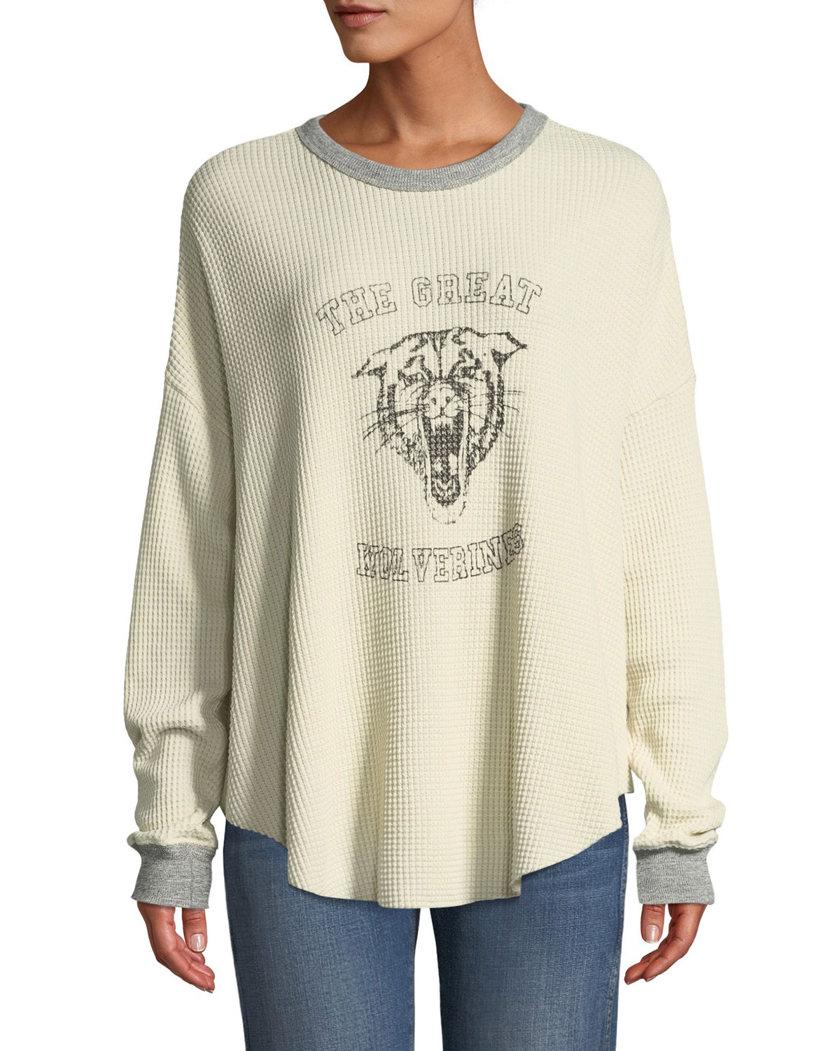THE GREAT The Circle Thermal Graphic Long-Sleeve Sweater in White Pattern
