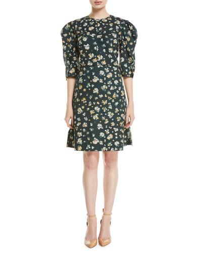 Puff-Sleeve Floral-Print Cotton  Dress