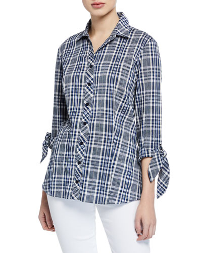 Jackie Button-Front Tie-Sleeve Peaks Island Plaid Blouse