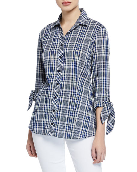 Finley Jackie Button-Front Tie-Sleeve Peaks Island Plaid Blouse