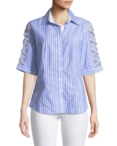 Sugar Sweet Blue Somethings Striped Blouse