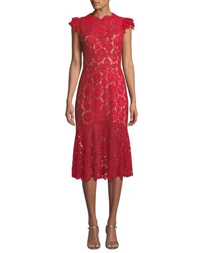 Quick Look. Saylor · Scalloped Rose Lace Cap-Sleeve Midi Dress be498e243