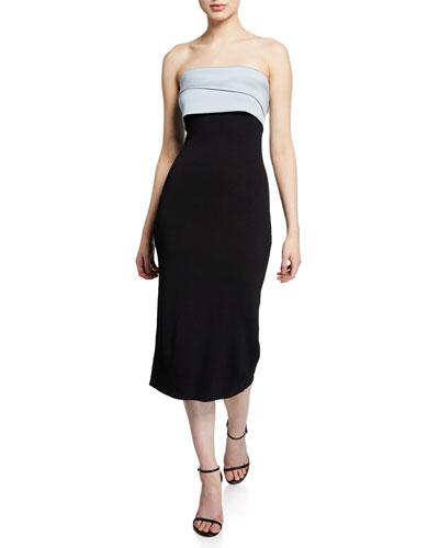 Lais Strapless Knit Dress with Draped Ruffle Back