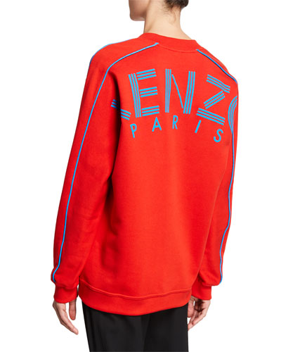 Oversized V-Neck Logo Pullover Sweatshirt