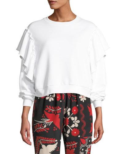 Crewneck Long-Sleeve Cropped Sweatshirt w/ Ruffle Shoulders