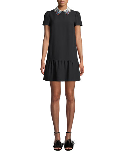 Short-Sleeve Crepe de Chine Drop-Waist Dress w/ Bird Collar