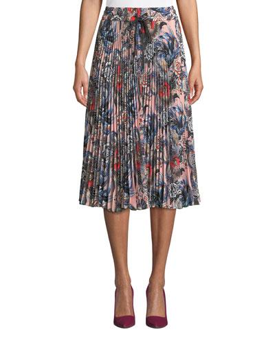 Wild Pride Floral-Printed Pleated Midi Skirt