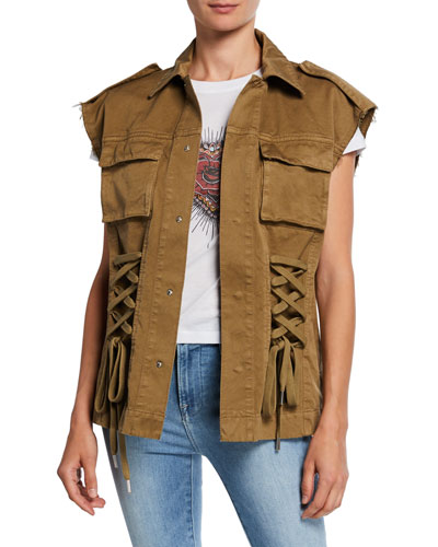 Gabardine Whipstitch Button-Front Lace-Up Vest