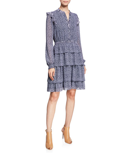 Micro Floral Mix-Print Long-Sleeve Tiered Dress w/ Ruffle Trim