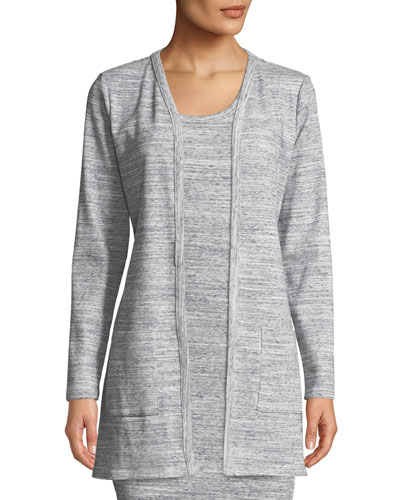 Ribbed Long-Sleeve Tie-Waist Cardigan