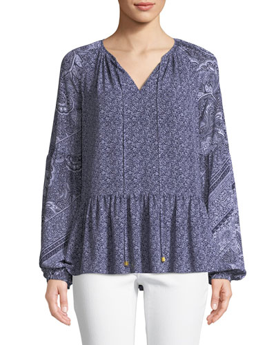 Micro Floral Mix-Print Split-Neck Long-Sleeve Top