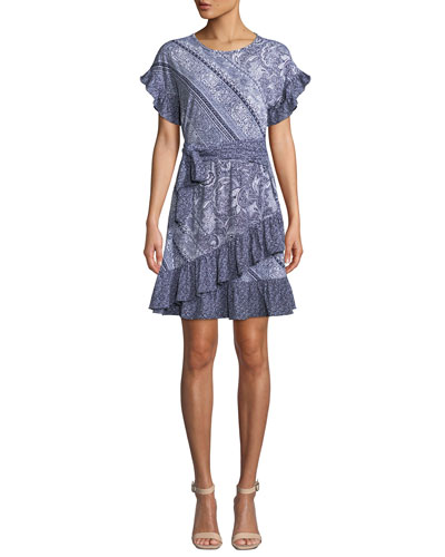 Paisley Mix-Print Short-Sleeve Tie-Waist Dress w/ Ruffle Trim