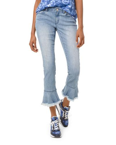 Izzy Mid-Rise Cropped Skinny Jeans w/ Flounce Hem