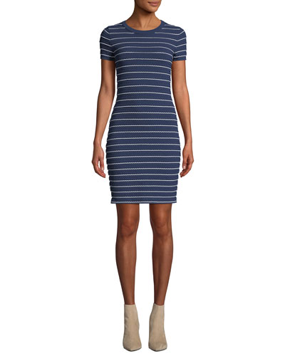 Crewneck Tipped Scallop Short-Sleeve Dress