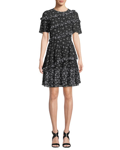 Floral-Print Jewel-Neck Short-Sleeve Ruffle Dress