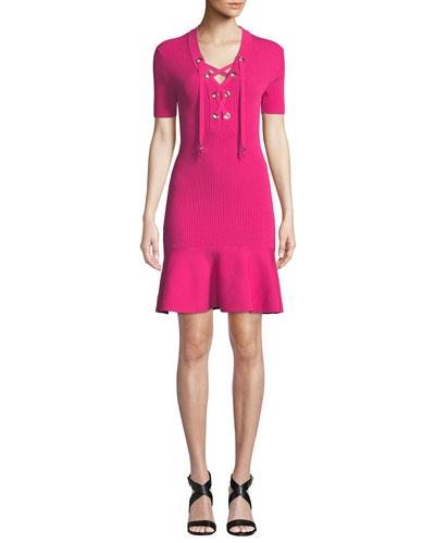 Lace-Up Rib-Knit Short-Sleeve Dress with Flared Hem