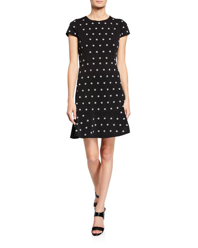 Flower-Print Cap-Sleeve Dress with Stud Embellishments