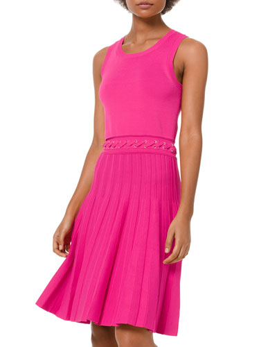 Scoop-Neck Sleeveless Dress with Grommet Lacing