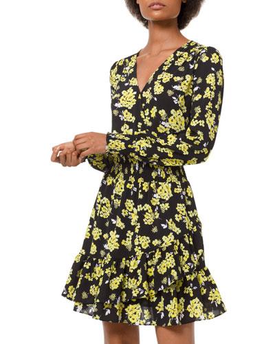 Floral-Print Long-Sleeve Ruffle Mini Dress