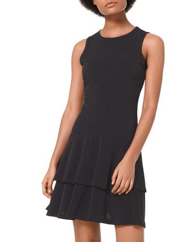 Solid Sleeveless Flounce Dress