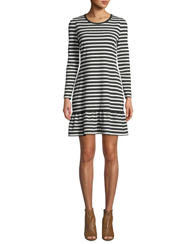 Striped Long-Sleeve A-Line Dress with Ruffle Hem