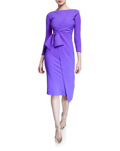 Gurli Bateau-Neck 3/4-Sleeve Asymmetric Flap Dress