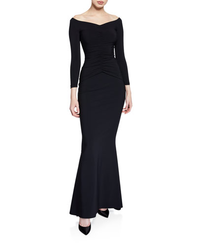 Siviliana Off-the-Shoulder Ruched Trumpet Dress