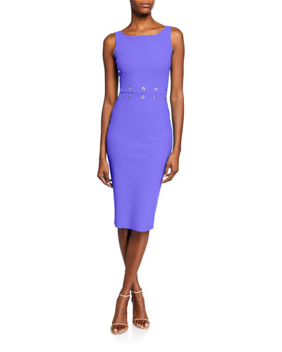 Maria Iris Boat-Neck Sleeveless Grommet-Waist Dress