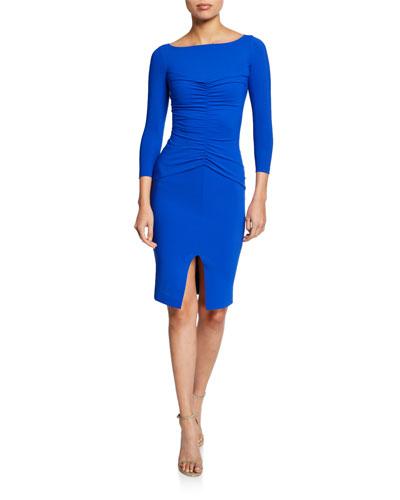 Siviliana Bateau-Neck 3/4-Sleeve Ruched Dress