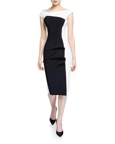 Citra Bateau-Neck Cap-Sleeve Colorblock Cocktail Dress