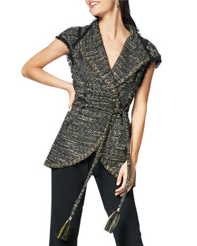 Emersyn Belted Tweed V-Neck Vest