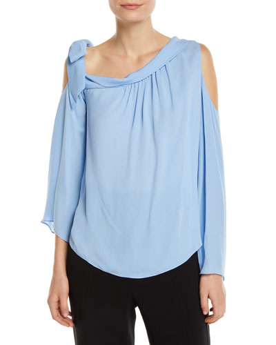 Cassie Silk Tie-Neck Cold-Shoulder Top