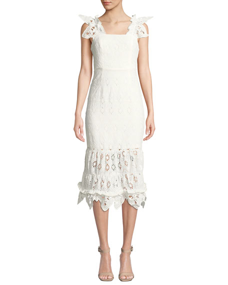 Shona Joy Viola Sleeveless Eyelet Midi Dress