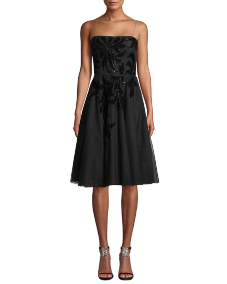 Aidan Mattox Beaded Fit-and-Flare Cocktail Dress