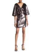 Aidan Mattox Sequin Dolman-Sleeve Mini Cocktail Dress