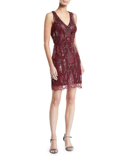 Beaded Sleeveless Cocktail Dress w/ Fringe Neckline
